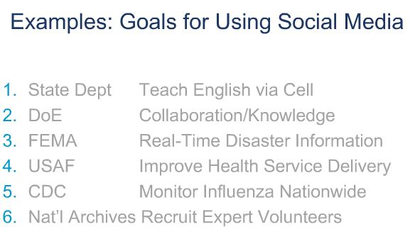 Example of Goals for Using Social Media in Government