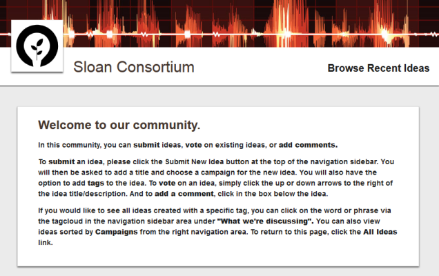 About the Sloan Community on Ideascale