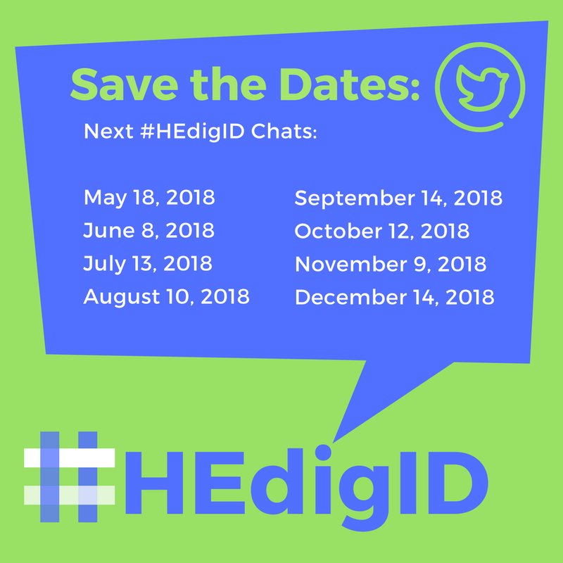 #HEdigID Chat SCHEDULE